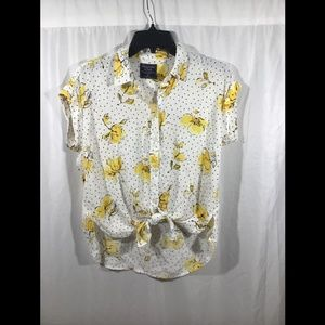 NEW Abercombie & Fitch Button Down Dot Flower Top